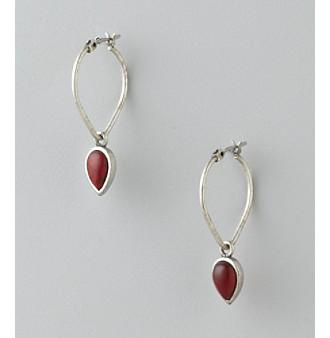 Lucky Brand® Teardrop Hoop Earrings - Silvertone/Red