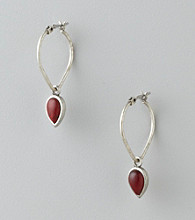 Lucky Brand® Teardrop Hoop Earrings - Silvertone/Red