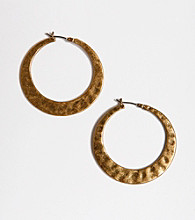Lucky Brand ® Hammered Metal Hoop Earrings - Goldtone