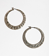 Lucky Brand® Hammered Metal Hoop Earrings - Silvertone