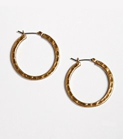 Lucky Brand® Small Hammered Metal Hoop Earrings - Goldtone
