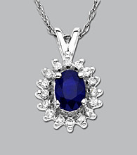.25 ct. t.w. Diamond and Sapphire Pendant in 10K White Gold