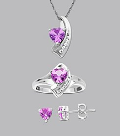 Created Pink and White Sapphire 3-pc. Set in Sterling Silver