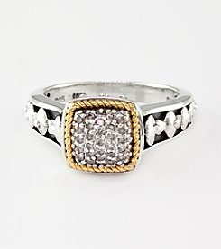 Effy® .13 ct. t.w. Diamond Ring in Sterling Silver and 18K Gold