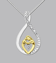 Sterling Silver & 14K Gold Mother And Child Diamond Accent Pendant