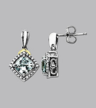 Sterling Silver and 14K Gold Aquamarine and Diamond Earrings