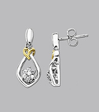 .20 ct. t.w. Diamond LoveKnot Earrings In Sterling Silver and 14K Gold