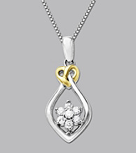 .20 ct. t.w. Diamond LoveKnot Pendant In Sterling Silver and 14K Gold