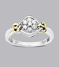 .20 ct. t.w. Diamond LoveKnot Ring In Sterling Silver and 14K Gold