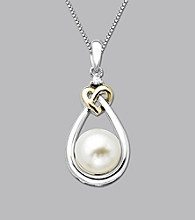 Freshwater Pearl LoveKnot Pendant In Sterling Silver and 14K Gold