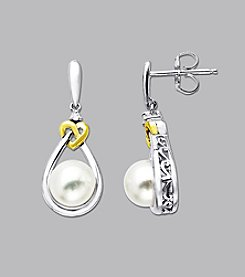 Freshwater Pearl and Diamond Love Knot Earrings in Sterling Silver and 14K Gold