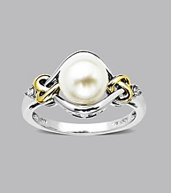 Freshwater Pearl and Diamond Loveknot Ring in Sterling Silver and 14K Gold