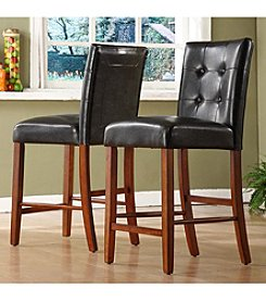 Home Interior 2-pc. Counter-Height Faux Leather Chair Set - Dark Brown