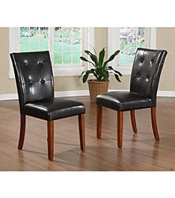 Home Interior 2-pc. Faux Leather Parson Chair Set - Dark Brown