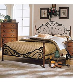 Home Interior Wood Poster Bed Frame with Metal Scroll Work - Bronze/Cherry