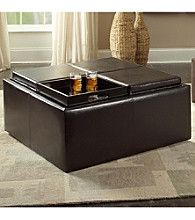 Home Interior Large Faux Leather Storage Ottoman - Dark Brown