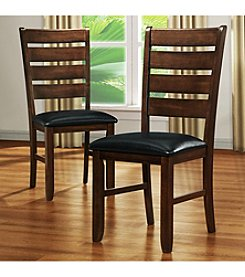 Home Interior 2-pc. Bicast Faux Leather Seat Side Chair Set - Dark Oak