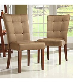 Home Interior Set of 2 Dining Chairs with Peat Microfiber Tufted Button Back