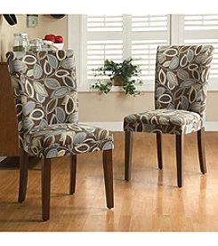 Home Interior Set of 2 Parson Style Dining Chairs with Leaf Fabric - Cherry