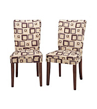 Home Interior Set of 2 Upholstered Dining Chairs with Brick Fabric
