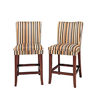 Home Interior Set of 2 Parson Pub Stools with Striped Cushion Set