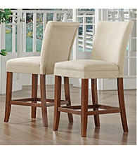Home Interior Set of 2 Counter-Height Chairs with Microfiber Upholstery - Peat