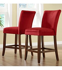 Home Interior Set of 2 Counter-Height Parson Chairs with Microfiber Upholstery - Red