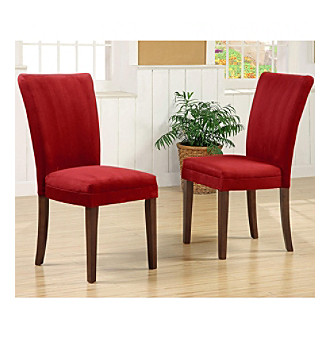 Home Interior Set of 2 Upholstered Parson Dining Chairs - Re