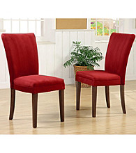 Home Interior Set of 2 Upholstered Parson Dining Chairs - Red