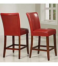 Home Interior Set of 2 Counter Height Chairs in Faux Leather - Red Wine