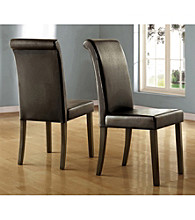 Home Interior Set of 2 Bi-Cast Vinyl Upholstered Parson Dining Chairs - Black