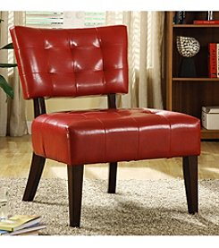 Home Interior Armless Faux Leather Accent Chair - Red Oak