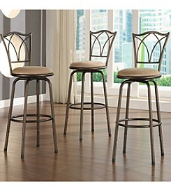 Home Interior Set of 3 Adjustable Barstools with Quarter Cross Back - Dark Brown