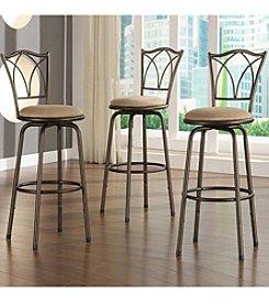Home Interior Set of 3 Adjustable Barstools with Quarter Cross Back - Dark Brown