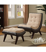 Home Interior Bi-Cast Leather Chair and Ottoman Set - Peat/ Velvet
