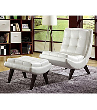 Home Interior Bi-Cast Leather Chair and Ottoman Set - White