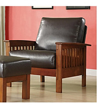 Home Interior Bi-Cast Faux Leather Mission Chair - Dark Brown