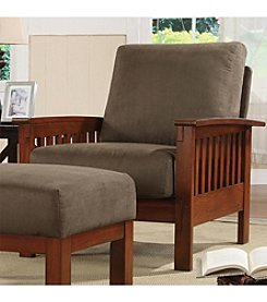 Home Interior Mission-Style Chair with Microfiber Covering - Oak/Olive