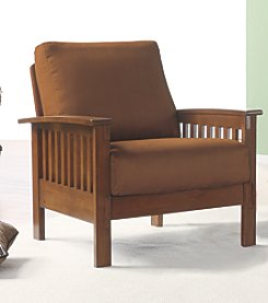 Home Interior Mission-Style Chair with Microfiber Covering - Oak/Rust