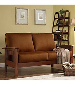 Home Interior Mission-Style Loveseat with Microfiber Covering - Oak/Rust
