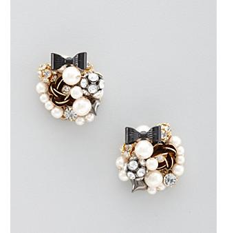 Betsey Johnson® Pearl Glitz Flower & Bowtie Oversized Earrings