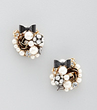Betsey Johnson® Pearl Glitz Flower & Bowtie Oversized Earrings
