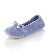 Isotoner® Embroidered Terry Ballerina Slippers