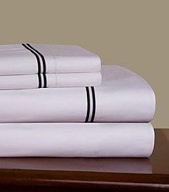 Pointehaven Black Embroidered 300-Thread Count Cotton White Sheet Sets