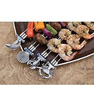 Charcoal Companion® Set of 4 Double Prong Coastal Kabob Skewers