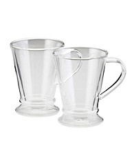 Bon Jour® Set of 2 Clear Insulated 10 oz. Coffee Mugs