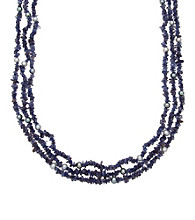 .925 Sterling Silver Freshwater Pearl & Iolite Necklace