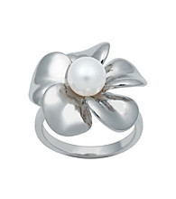 .925 Sterling Silver Freshwater Pearl Flower Ring - White