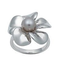 .925 Sterling Silver Freshwater Pearl Flower Ring - Gray