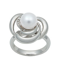 .925 Sterling Silver Freshwater Pearl & Diamond Accent Ring - White